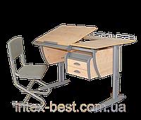 Стол СУТ.17.04 + Тумба навесная ТСН.01-01 + Полка задняя СУТ.15.210 (2 шт.) клен/серый