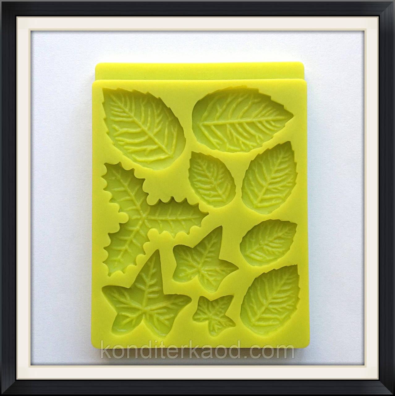 Молд силиконовый Листья (роза, плющ, омела )