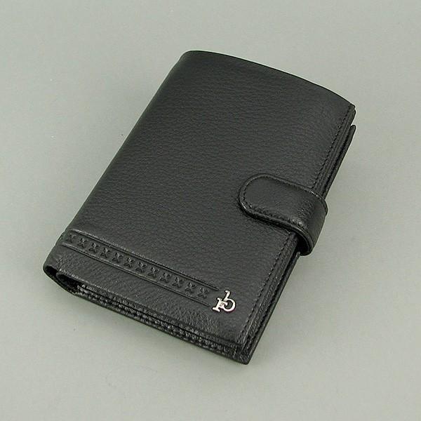 Кошелек мужской кожаный черный (документы, права) Rocco Barocco