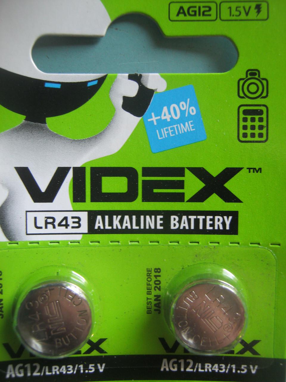 Батарейка часовая Videx AG 12(LR43) blister card 10 pc