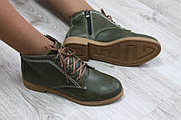 Осенние ботинки женские цвет - хаки