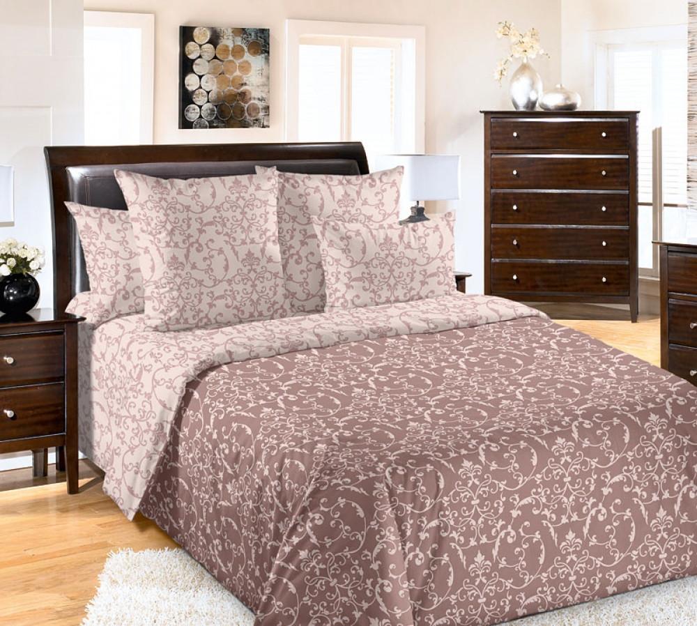 Полуторный комплект постельного белья  с простынью на резинке Вирджиния ,перкаль. Комплект постельного белья