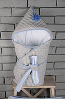 Стеганый конверт с кисточкой, серо-голубой, фото 1