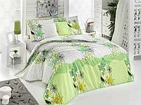 Комплект постельного белья Zambak 12003-02 двуспальное, салатовые тона, абстракция цветов, ранфорс, Турция
