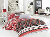 Комплект постельного белья Zambak 8661-01 двухспальное, красного цвета, ранфорс, 100% хлопок, яркое, Турция