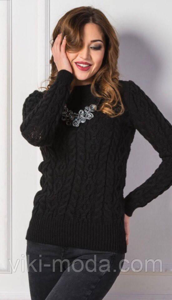Вязаный свитер Люкс черный