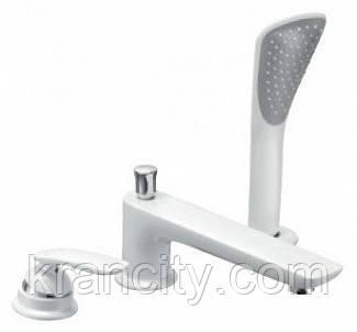 Смеситель для ванной на три отверстия белый Kludi Balance 524479175