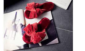 Стильные женские меховые зимние тапочки с бантами