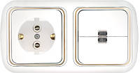 Выключатель двухклавишный со свет. индикацией + розетка с заземляющим контактом скрытой установки,2В-РЦ-601 з