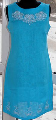 Платье женское без рукавов с вышивкой