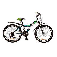 """Велосипед 24"""" Formula STORMY AM 14G Vbr рама-13"""" St черно-зеленый с крылом Pl 2017"""