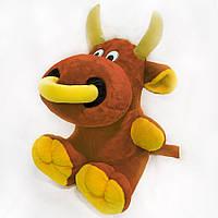 Мягкая игрушка Бычок с кольцом маленький коричневый