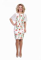 Нарядное платье из принтовой ткани плательный стрейч-креп и шифон