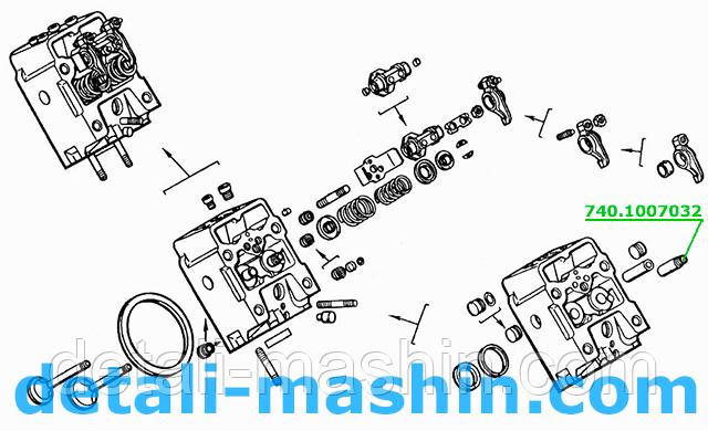 Втулка клапана КамАЗ впускного и выпускного направляющая 740.1007032, рисунок