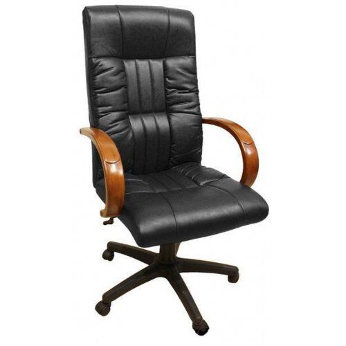 Кресло для руководителя Консул НВ, кожзам черный (622-B HIGH-BACK BLACK PU+PVC ,HL018 MECH) - Мебельный центр в Киеве