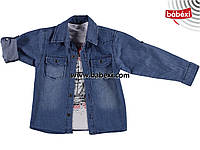 Модная джинсовая рубашка+футболка детская на мальчика 8, 9, 10, 11 лет.Турция!Детская джинсовая одежда