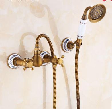 Смеситель кран с лейкой для душа бронза в ванную комнату