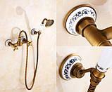 Смеситель кран с лейкой для душа бронза в ванную комнату, фото 2