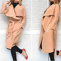 Женское кашемировое пальто на запах бежевое. Хит сезона!