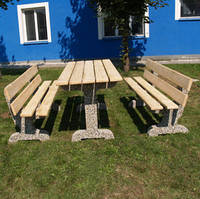 """Стол и 2 лавочки """"САДОВЫЙ"""" Набор. Столы и Лавочки бетонные, мытый бетон Днепропетровск."""