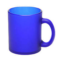 Чашка стеклянная синяя, матовая Фроузен. Для нанесения логотипа методом обжиговой деколи, фото 1