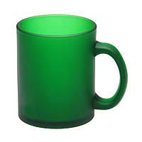Чашка стеклянная зеленая, матовая Фроузен. Для нанесения логотипа методом обжиговой деколи, фото 1