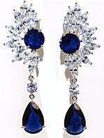 Серьги вечерние.Камень: синий и белый  циркон. Высота серьги: 6,5 см. Ширина: 20 мм.