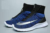 Женские кроссовки Nike Free Flyknit Mercurial blue-white, фото 1
