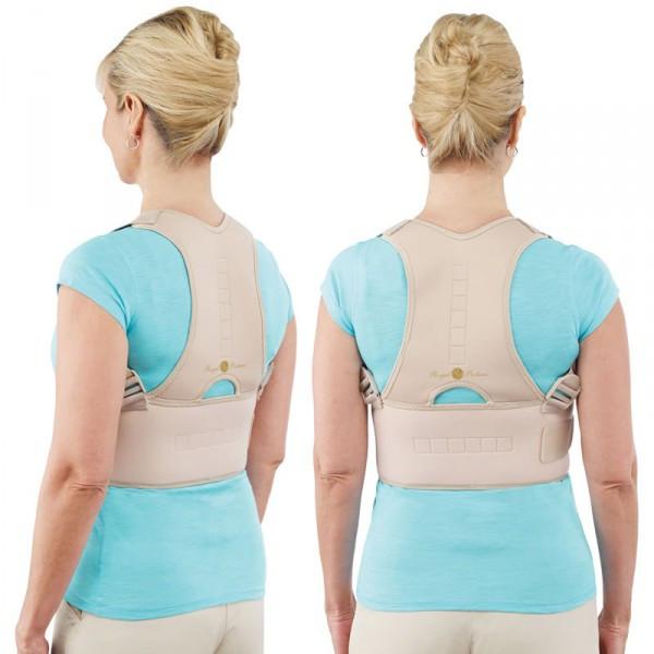 🔝 Магнитный ортопедический корсет для спины, от сутулости, Royal Posture, цвет - бежевый, размер L   🎁%🚚