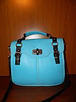 Небольшая сумка Hermes с печатью голубая с черным
