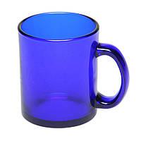 Чашка стеклянная синяя Фрост. Для нанесения логотипа методом обжиговой деколи, фото 1