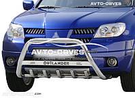 Кенгурятник для Mitsubishi Outlander 2003-2007 с лого (AISI304)