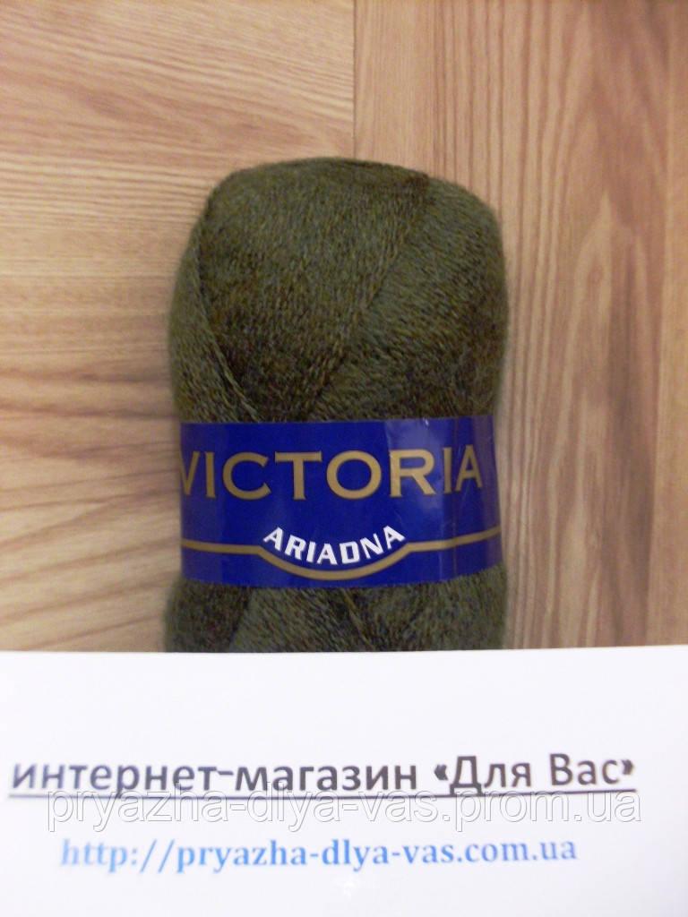 Мохеровая пряжа (35%-мохер, 65%-акрил, 100г/600м) Victoria Ariadna 1439(хаки)
