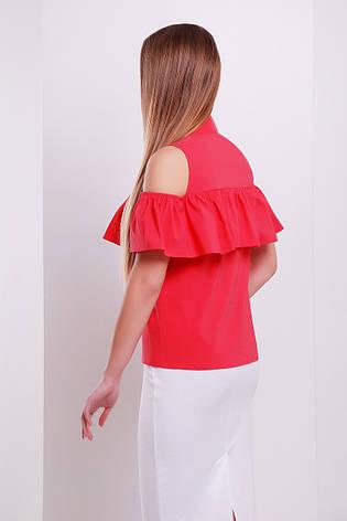 Красная блузка с открытыми плечами и воланом блуза Калелья б/р, фото 2