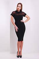 Платье классика по фигуре черного цвета с верхом из сетки сукня Алесандра к/р