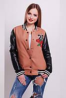 Молодежная куртка бомбер кашемировая с рукавами из экокожи принт Олень-роза