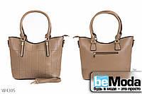 Удобная женская каркасная сумка Kiss Me beige из экокожи с оригинальными прострочками бежевая