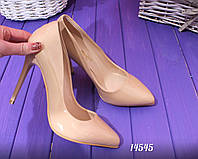 Туфли лодочки бежевые лакированные каблук 10,5 см