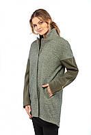 Комбинированное пальто прямого силуэта