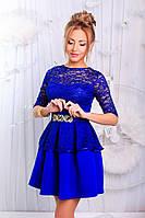 Платье вечернее комбинированное с баской