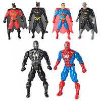 Фиурки Супергероев (Бэтмен, Супермен, Человек Паук) 8077-08 свет, 6 видов (СП, BM, СМ), в кульке, 15-9-3см