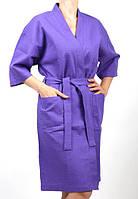 Фиолетовый халат женский вафельный