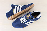 Мужские кроссовки, синие, из натуральной замши, с кожаными белыми вставками, на шнурках