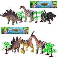 Динозавры 66110-66112 3шт, от 22см, дерево 3шт, 2 вида, в кульке, 29-40-5см/37-29-7см