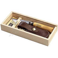 Нож Opinel №8 Inox, сталь - Sandvik 12C27, рукоятка - оливковое дерево, обычная режущая кромка, кожанный чехол, точило, пенал, длина клинка - 85 мм,