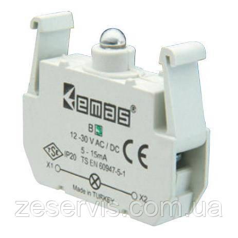 Блок-контакт подсветки B9 с зеленым светодиодом 12-30 V AC/DC