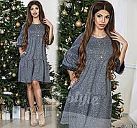 Женское платье материал теплый плотный трикотаж, кружево на рукавах, украшение прилагается
