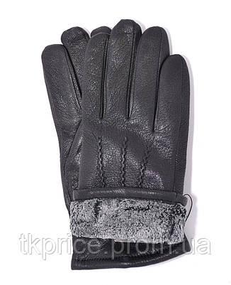 Мужские кожаные перчатки из оленьей кожи на махре, фото 2