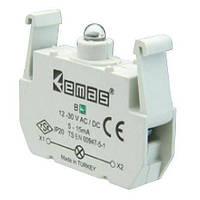 Блок-контакт подсветки BY с зеленым светодиодом 100-250 V AC