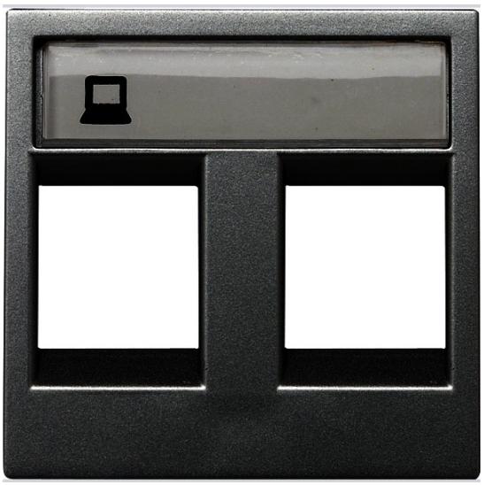ABB Zenit Лицевая панель двойных комуникационных розеток (2 модуля) антрацит
